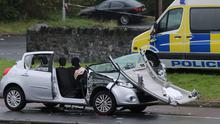 The silver Renault Clio on the Glen Road, Newry which was involved in a road accident with an unmarked silver Police Service of Northern Ireland Mitsubishi, which claimed the lives of two elderly nuns