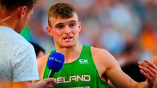 Marcus Lawler of Ireland, is interviewed by David Gillick for RTE, after competing in the Men's 200m Heats during Day 2 of the 2018 European Athletics Championships at The Olympic Stadium in Berlin, Germany. Photo by Sam Barnes/Sportsfile