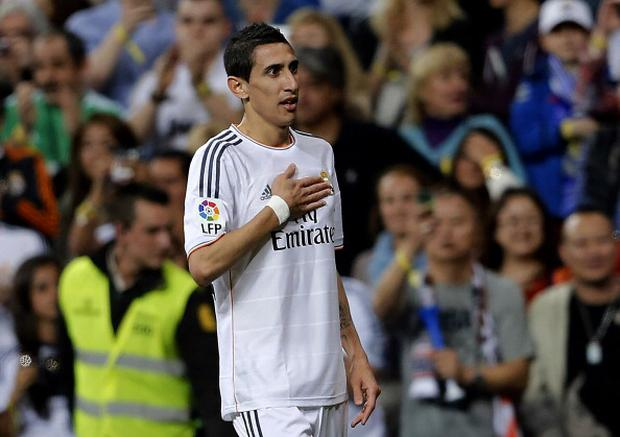 Angel di Maria of Real Madrid celebrates after scoring the opening goal during the La Liga match between Real Madrid and UD Almeria at Estadio Santiago Bernabeu on April 12, 2014 in Madrid, Spain. (Photo by Angel Martinez/Real Madrid via Getty Images)