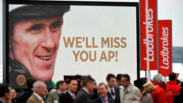 A view of a message displayed after Tony McCoy won the Ryanair Chase on Uxizandre. Cheltenham Racing Festival 2015, Prestbury Park, Cheltenham, England. Picture credit: Ramsey Cardy / SPORTSFILE