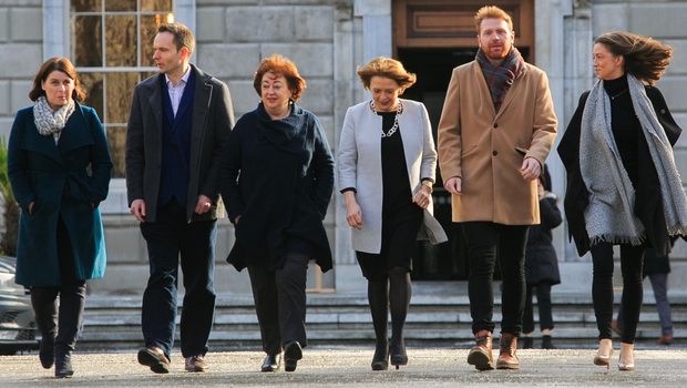 Change is possible: Four out of the Social Democrats' six TDs in the new Dáil are women, from left, Jennifer Whitmore, Cian O'Callaghan, Catherine Murphy, Róisín Shortall, Gary Gannon, Holly Cairns. Photo: Collins