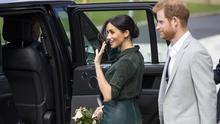 Prince Harry, Duke of Sussex and Meghan, Duchess of Sussex leave the University of Chichester's Engineering and Digital Technology Park after an official visit on October 3, 2018