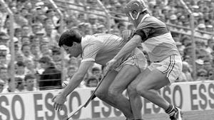 Ciarán Barr trying to hold off Offaly's Martin Hanamy in the 1989 All-Ireland SHC semi-final in Croke Park. Photo: Ray McManus/Sportsfile