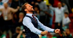 England manager Gareth Southgate celebrates after their penalty shootout win. Photo: REUTERS