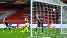 Arsenal's Joe Willock scores their second goal against Dundalk in the Europa League Group B clash at the Emirates Stadium, London