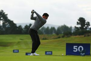 Rory McIlroy practices on the driving range at Gleneagles ahead of the Ryder Cup this weekend. Photo: Mike Ehrmann/Getty Images