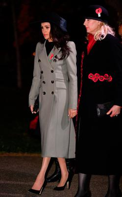 Meghan Markle, fiancee of Britain's Prince Harry, attends the Dawn Service at Wellington Arch to commemorate Anzac Day in London, Britain, April 25, 2018. REUTERS/Toby Melville