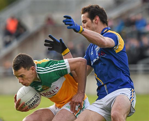 Niall McNamee, Offaly, in action against Barry Gilleran, Longford during the Leinster GAA Football Senior Championship, Round 1, Offaly v Longford, O'Connor Park (Ray McManus / SPORTSFILE)