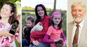 SO GOOD WE BOTTLED IT: From left, Clodagh Davis of Naturally Cordial; Susan Kelly with her children who inspired her Bella Hen business; and Dermot Twomey of Healthy You.