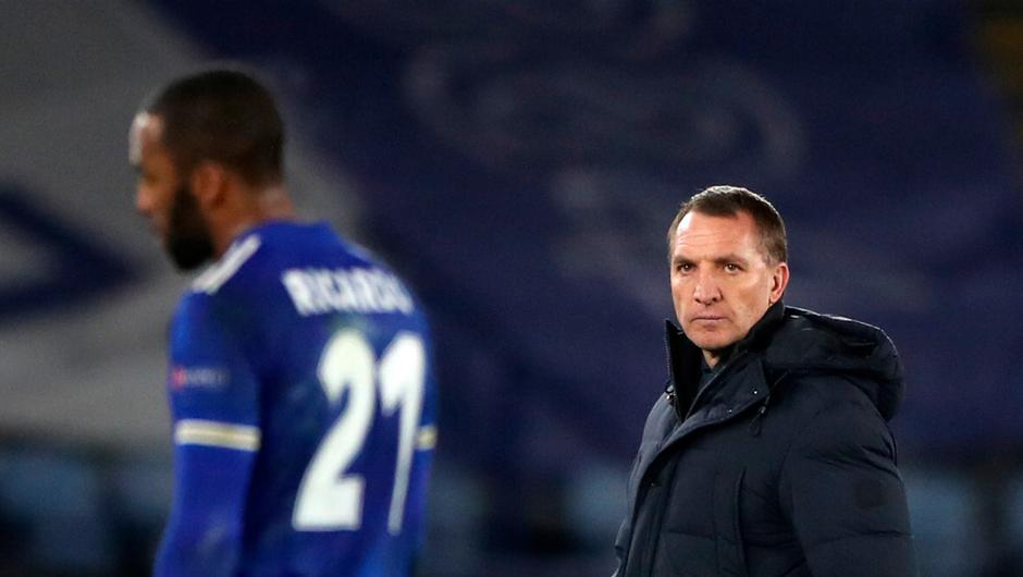 Leicester City's Ricardo Pereira and Leicester City manager Brendan Rodgers react upon being knocked out of the Europa League. Nick Potts/PA Wire.