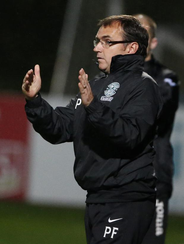 Hibernian Manager Pat Fenlon during the Scottish Premiership match at Firhill Stadium, Glasgow.