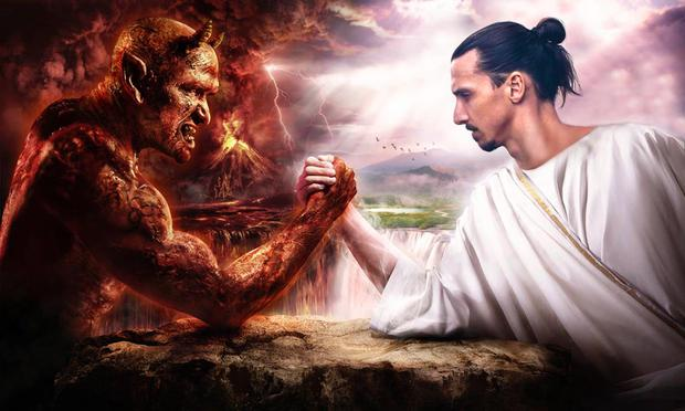 Zlatan Ibrahimovic shakes hand with the devil. Photo: Zlatan Ibrahimovic
