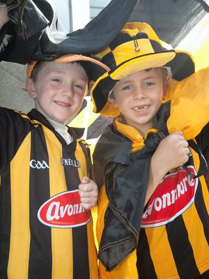(L to R) Robbie Doherty 7 from Mooncoyne & Tommy Welsh 6 from Ballyhail at the All Ireland Hurling Final between Kilkenny & Tipperary at Croke Park, Dublin. Photo:  Gareth Chaney Collins