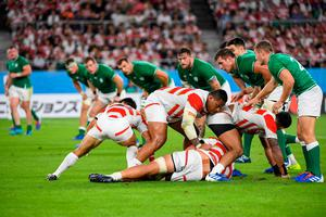 The Irish defence line wait for Japan to play a pass during the Japan 2019 Rugby World Cup Pool A match between Japan and Ireland at the Shizuoka Stadium Ecopa in Shizuoka on September 28, 2019. Photo: William West/Getty Images