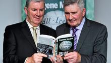 Offaly's All-Ireland winning manager and Irish Independent columnist Eugene McGee alongside legendary manager Mick O'Dwyer at the launch of his book The GAA In My Time - published by Ballpoint Press - in Croke Park last week. Photo: Matt Browne / SPORTSFILE