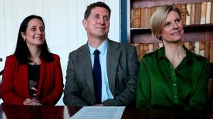 Hopeful: Green leader Eamon Ryan (centre), deputy leader Catherine Martin (left) and candidate Pippa Hackett at the party's general election campaign launch at the Royal Society of Antiquaries in Dublin. Photo: Brian Lawless/PA Wire