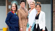 Cathy O'Connor (Stylist) Gillian Quinn, and winner Audrey Kelly and Lottie Ryan at the second day of the Punchestown Festival