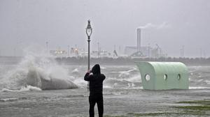 Waves crash over the seafront in Clontarf during Storm Brendan. Picture Colin Keegan, Collins Dublin