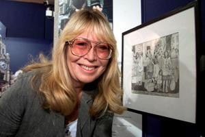 File photo dated 27/08/99: John Lennon's first wife Cynthia, with one of her drawings. Photo: David Kendall/PA Wire