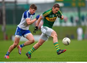 29 March 2015; Stephen O'Brien, Kerry, in action against Darren Hughes, Monaghan. Allianz Football League, Division 1, Round 6, Kerry v Monaghan. Austin Stack Park, Tralee, Co. Kerry. Picture credit: Stephen McCarthy / SPORTSFILE
