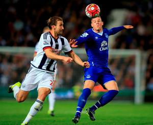 West Bromwich Albion's Craig Dawson and Everton's Ross Barkley battle for the ball