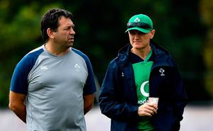 IRFU performance director David Nucifora alongside former head coach Joe Schmidt during last year's World Cup. Photo: Brendan Moran/Sportsfile