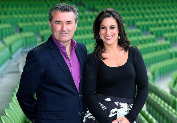 Tv3 Autumn Schedule launch at the Aviva Stadium Dublin Martin King and Lucy Kennedy Picture Brian McEvoy No repro fee for one use