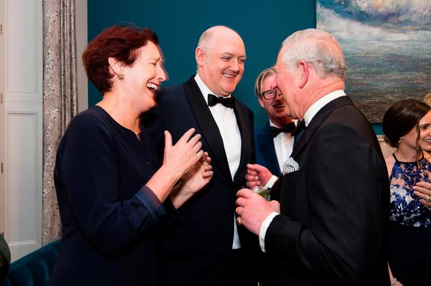 The Prince of Wales (right) talks with Fiona Shaw and Dara O'Briain during a St Patrick's Day Dinner at the Embassy of Ireland in Belgravia, London. PRESS ASSOCIATION Photo. Picture date: Wednesday March 6, 2019. Photo credit should read: Jeff Spicer/PA Wire