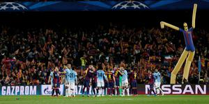 Football - FC Barcelona v Manchester City - UEFA Champions League Second Round Second Leg - The Nou Camp, Barcelona, Spain - 18/3/15 Players from both sides shake hands at the end of the match Action Images via Reuters / Carl Recine Livepic EDITORIAL USE ONLY.