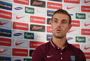 Jordan Henderson could miss England's opening Euro 2016 qualifier against Switzerland after picking up an ankle injury. Photo: Ian Walton/Getty Images