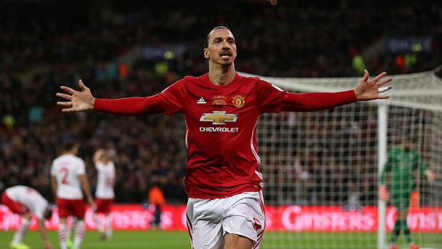 LONDON, ENGLAND - FEBRUARY 26: Manchester United's Zlatan Ibrahimovic celebrates scoring his sides third goal during the EFL Cup Final match between Manchester United and Southampton  at Wembley Stadium on February 26, 2017 in London, England. (Photo by Rob Newell - CameraSport via Getty Images)