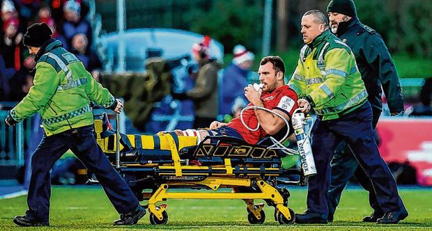 Tadhg Beirne leaves the field on a stretcher. Photo: Seb Daly/Sportsfile
