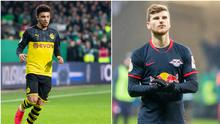 Borussia Dortmund's Jadon Sancho (left) and RB Leipzig striker Timo Werner have been linked with a move to Liverpool. Credit: Getty Images.