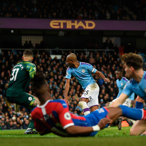 Unwanted: Fernandinho of Manchester City scores an own goal which results in a draw against Crystal Palace