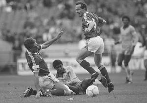 Brazil's Valdo is tackled by Ireland's Mick McCarthy, left, and Liam Brady during an international friendly at Lansdowne Road on May 23, 1987. Photo: Ray McManus/Sportsfile