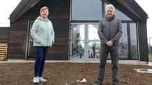 Caitriona McGoldrick, secretary, Cafe FIA Co-Operative with architect, James Griffiths, outside the new community café in Coolaney. Pics: Carl Brennan