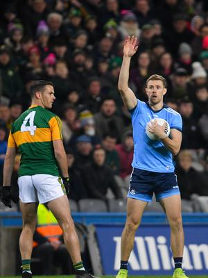Paul Mannion of Dublin calls for a mark during the Allianz Football League Division 1 Round 1 match between Dublin and Kerry at Croke Park in Dublin. Photo by Ramsey Cardy/Sportsfile