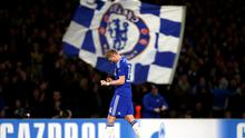 Andre Schurrle of Chelsea celebrates after scoring his team's second goal during the UEFA Champions League group G match between Chelsea and Sporting Clube de Portugal at Stamford Bridge