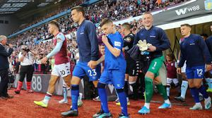Villa Park, Birmingham- August 23, 2019  Everton's Seamus Coleman and Aston Villa's Jack Grealish lead out the teams before the match. REUTERS/Eddie Keogh