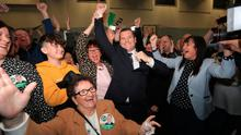 Success: Sinn Féin's Paul Donnelly celebrates with his mother Bridie (front centre) after topping the poll in Dublin West. Photo: Donall Farmer/Getty Images