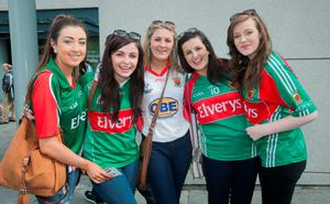 30/08/2015   GAA fans (L to R)  Bethany Monaghan Emer o donnell Maire ruddy Marie Deane Shannon tighe all from Belmullet at the GAA Semi Final between Dublin & Mayo in Croke Park, Dublin. Photo: Gareth Chaney Collins