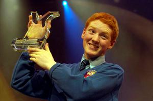File Pics Patrick Collison. Young Scientist of the Year, Patrick Collison, presented with his award after winning the coveted prize for his project, 'Croma': a new dialect in LISP. Patrick is from Dromineer, Limerick and attends Castletroy College Limerick. photo Photocall Ireland! 14/1/2005