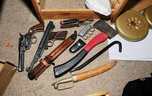 Weapons found in Ryan McGee's bedroom. Photo: Greater Manchester Police/PA