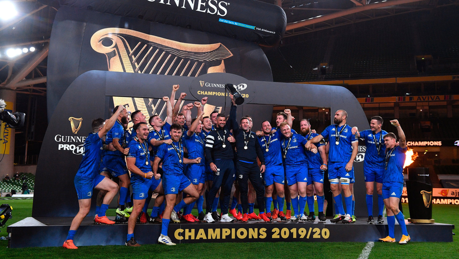 Rob Kearney, left, and Fergus McFadden, right, of Leinster lift the PRO14 trophy alongside their team-mates after the Guinness PRO14 Final match between Leinster and Ulster at the Aviva Stadium in Dublin. Photo: Ramsey Cardy/Sportsfile