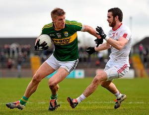 Kerry's Tommy Walsh, Kerry in action against Ronan McNamee of Tyrone