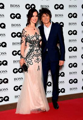 Ronnie Wood and wife Sally Humphreys attend the GQ Men Of The Year Awards at The Royal Opera House on September 8, 2015 in London, England.  (Photo by Gareth Cattermole/Getty Images)