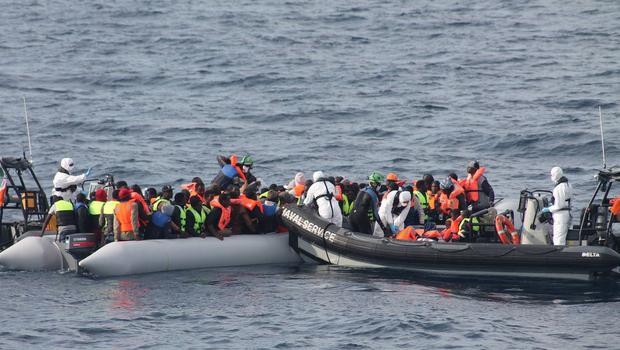 LE Eithne rescues 113 people off Libyan coast in fifth successful rescue  (Photo: Irish Defence Forces)