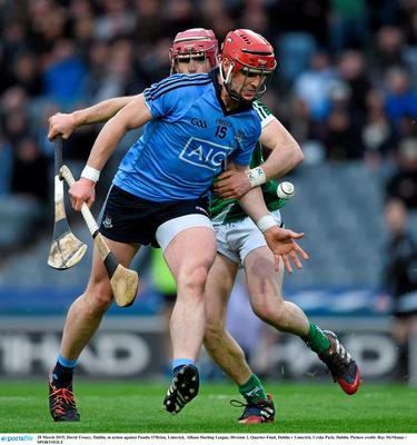 28 March 2015; David Treacy, Dublin, in action against Paudie O'Brien, Limerick. Allianz Hurling League, Division 1, Quarter-Final, Dublin v Limerick. Croke Park, Dublin. Picture credit: Ray McManus / SPORTSFILE