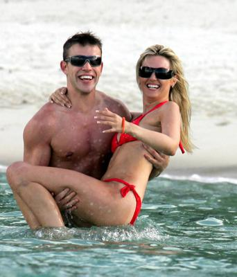Former Miss World Rosanna Davison frolicking in the sea and on the beach with her hunky boyfriend Wesley Quirke. 'Wesanna' looked very much in love on holiday on the Island of Mauritius in 2008