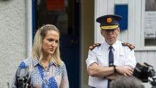 Minister for Justice Helen McEntee with Garda Commissioner Drew Harris